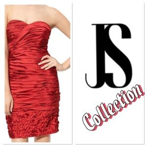 🌹JS Collection Red Ruched Taffeta Strapless Dress